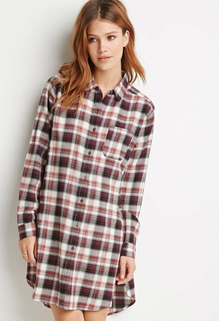 656758966f8 high-split plaid flannel tunic, Forever 21 | Comfy \ Casual ...