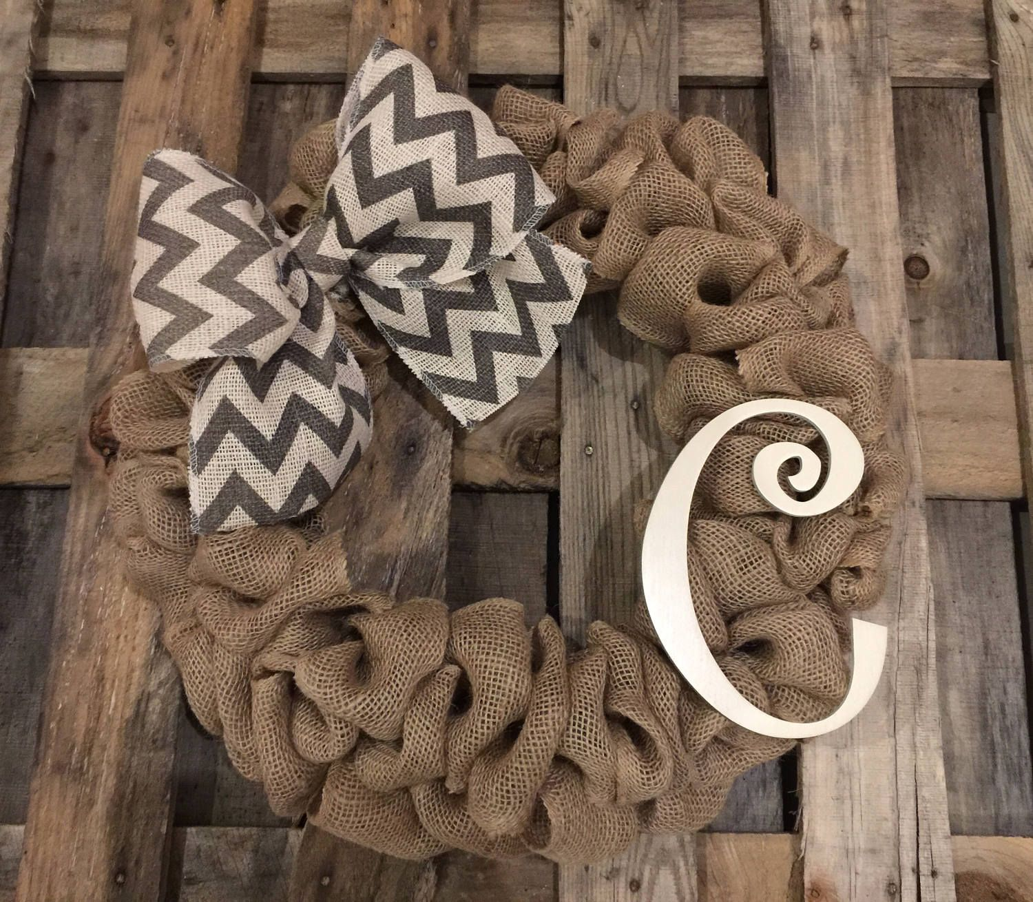 Monogrammed Initial C Burlap Gray Chevron Curly Wood Letter Wreath Front Door Personalized Wedding Gift Ru Rustic Gift Letter Wall Decor Wreaths For Front Door