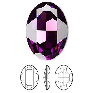 Embellishment, Swarovski crystal rhinestone, amethyst, foil back, 30x22mm faceted oval fancy stone (4127). Sold per pkg of 24.