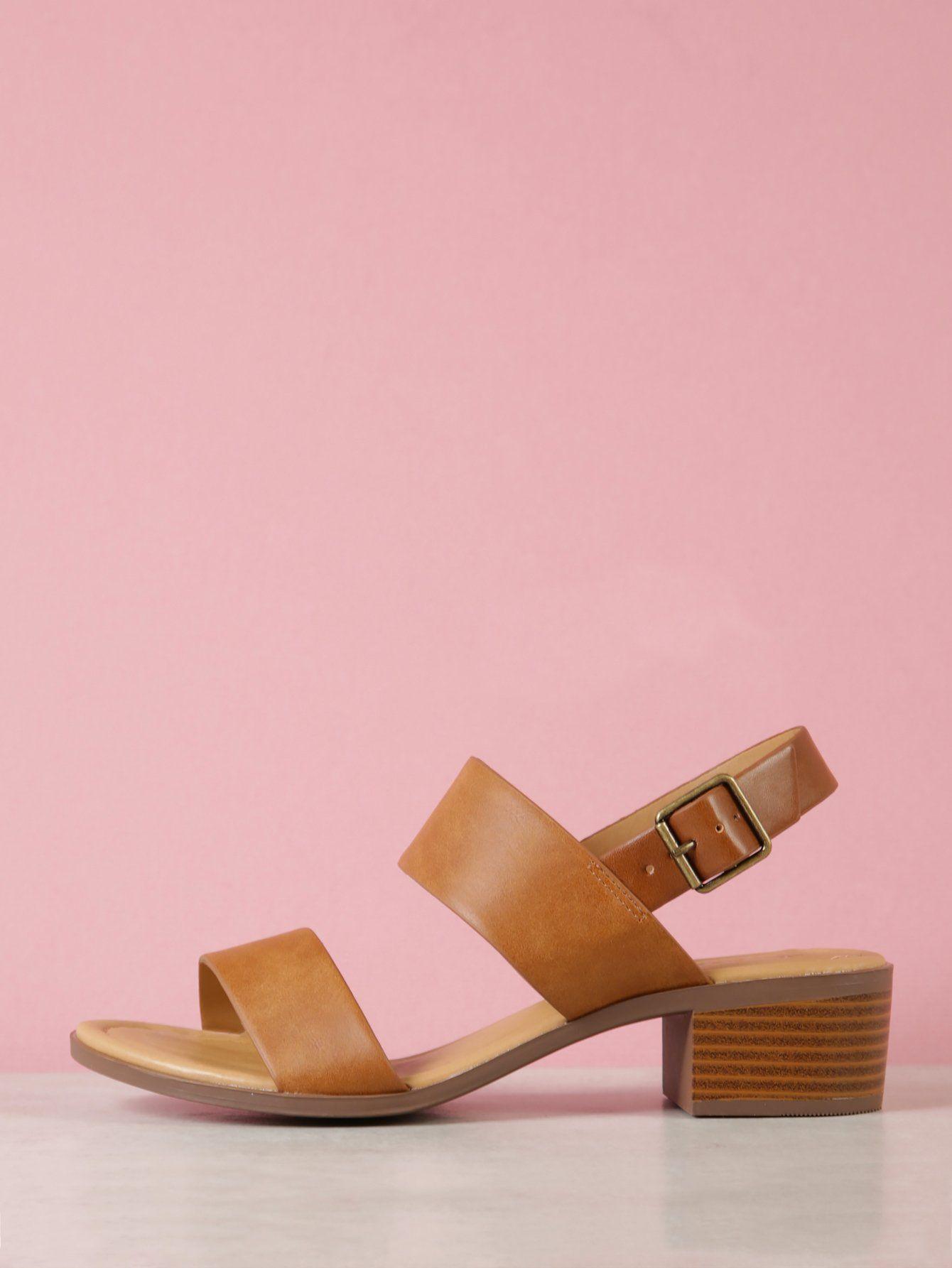 2b720afb8e4 Double Band Ankle Strap Low Block Sandal -SheIn(Sheinside)