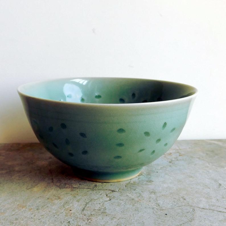Vintage Chinese Celadon Glaze Rice Eye Porcelain Rice Bowl Etsy Vintage Pottery Celadon Hand Painted Ceramics