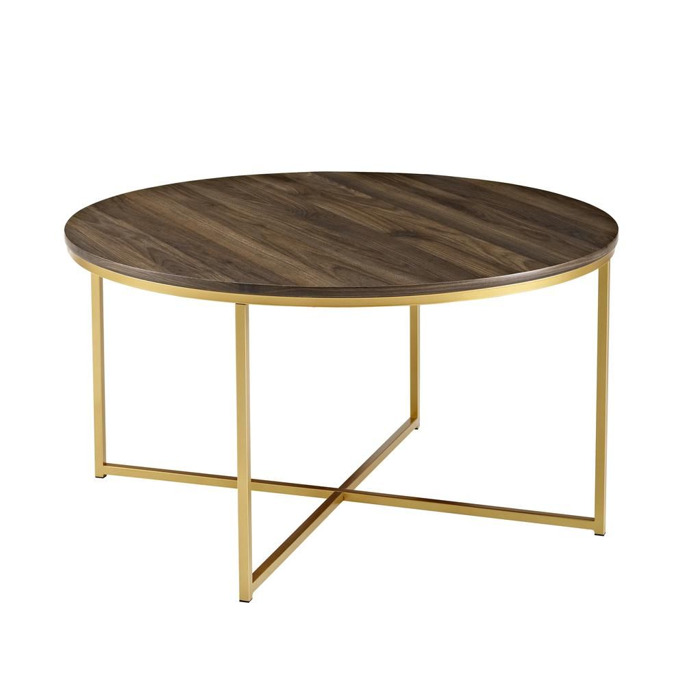 36 In Dark Walnut Gold Mid Century Modern Coffee Table With X