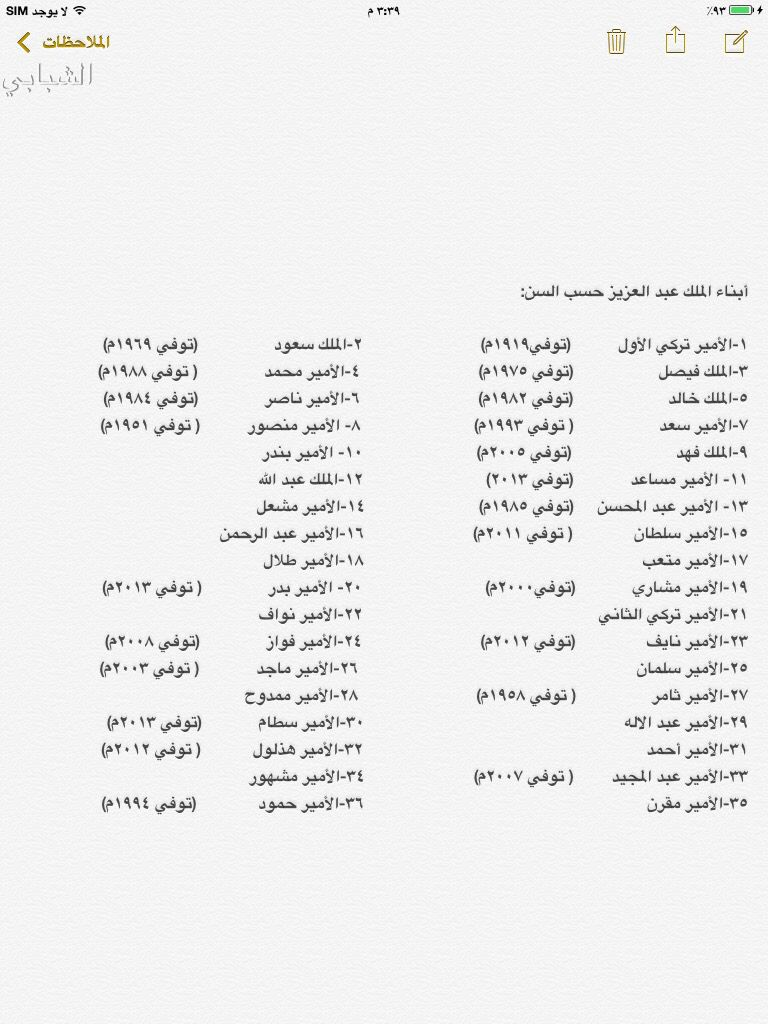 ابناء الملك عبد العزيزبن عبد الرحمن بن فيصل ال سعود Info Bullet Journal Person