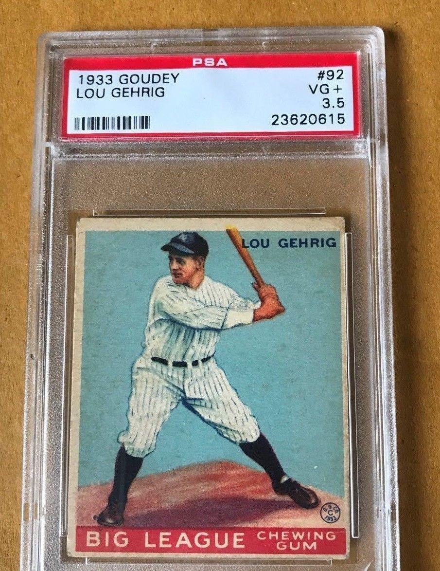 1933 goudey lou gehrig new york yankees 92 baseball card