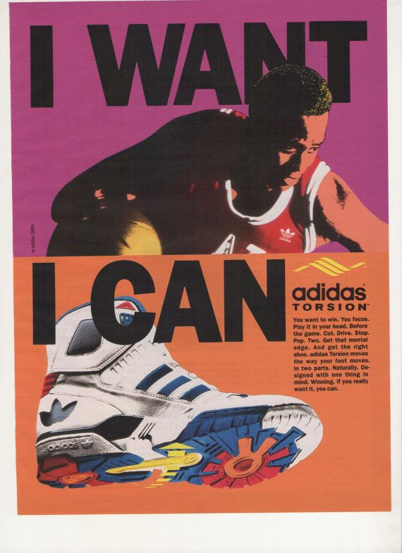 1990 Adidas Torsion Shoes Advertisement 90s I Want Can Basketball Trainers  High Top Color Blocking Motivational Orange Purple Wall Art Decor