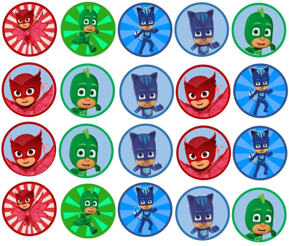 Details About Pj Mask Edible Image Cookie Or Cupcake