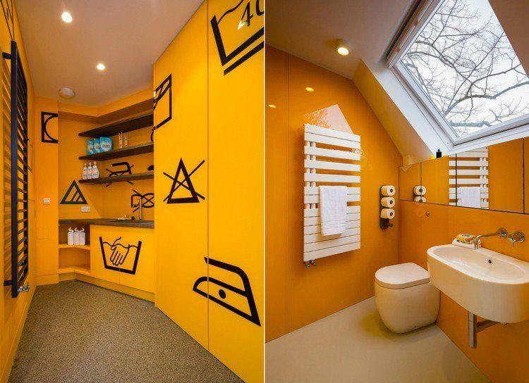 salle de bains en jaune moutarde, revêtement mural à finition laquée ...