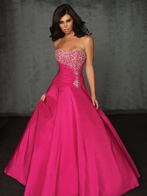 vestido de noche strapless de color fucsia : Vestidos para tu fiesta ...
