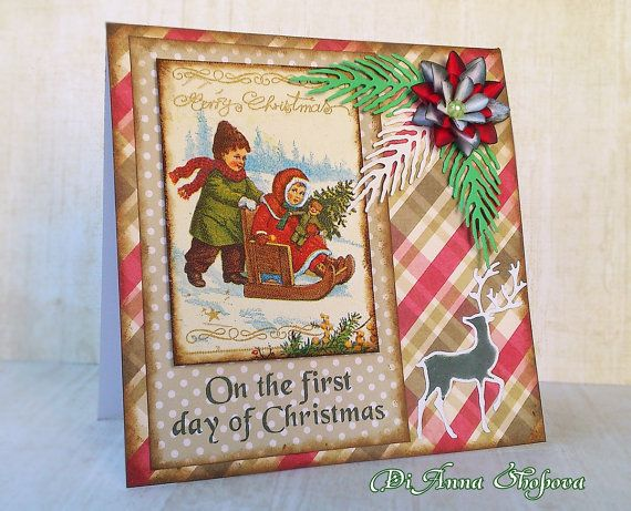 Handmade Christmas Card Handmade Greeting Card by DidiLandCrafts #christmascards #cardmaking #victorian #christmas #cards