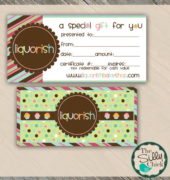 Bake Shop - Gift Certificate Template - Customizable PSD Template - printable gift certificate template