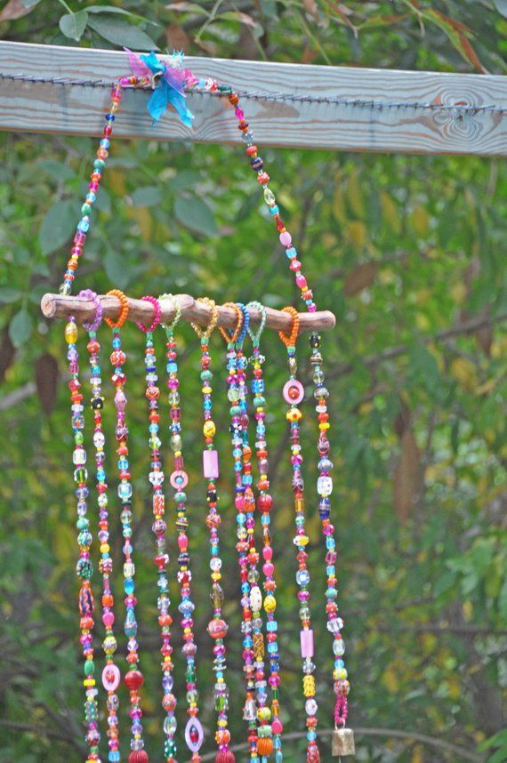 Photo of Bohemian Home Decor-Colorful Beaded Mobile wind chime with Brass bells and fabric tassel