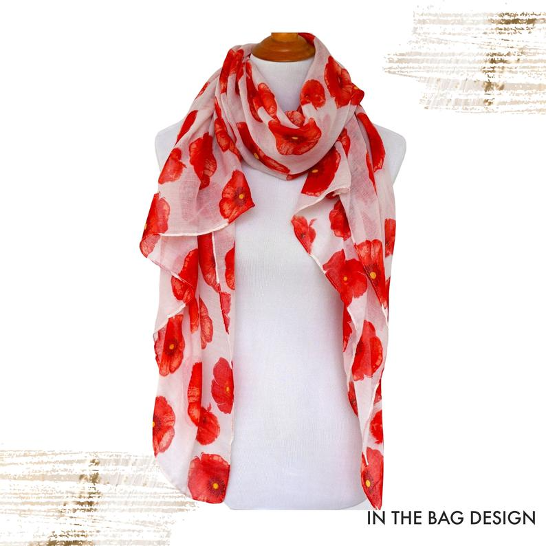 Floral Print Scarf White Red Scarf Red Poppy Womens Viscose Etsy Floral Print Scarves Scarf Print Red Scarves