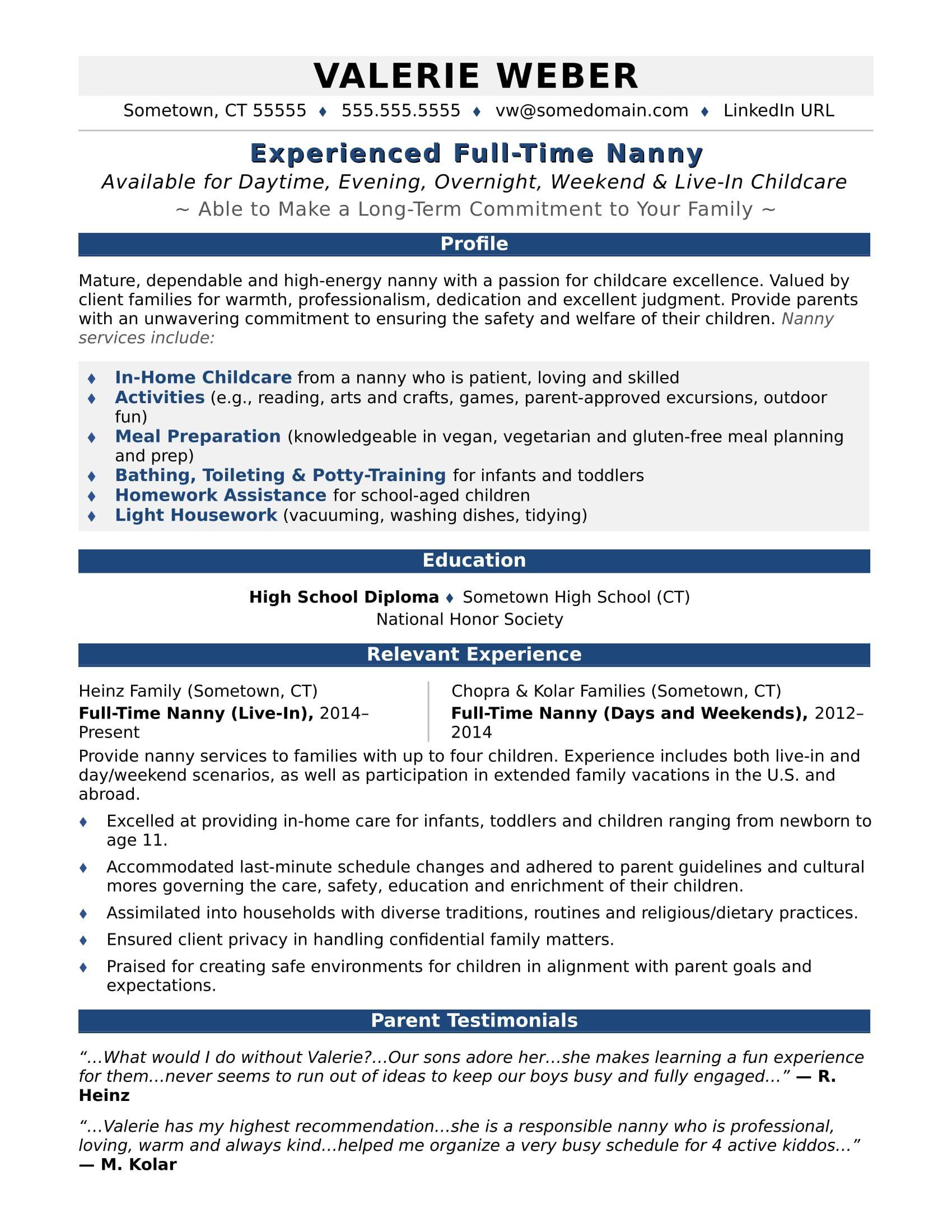 Nanny Resume Sample Homeschool High School Babysitter Jobs Nanny Jobs