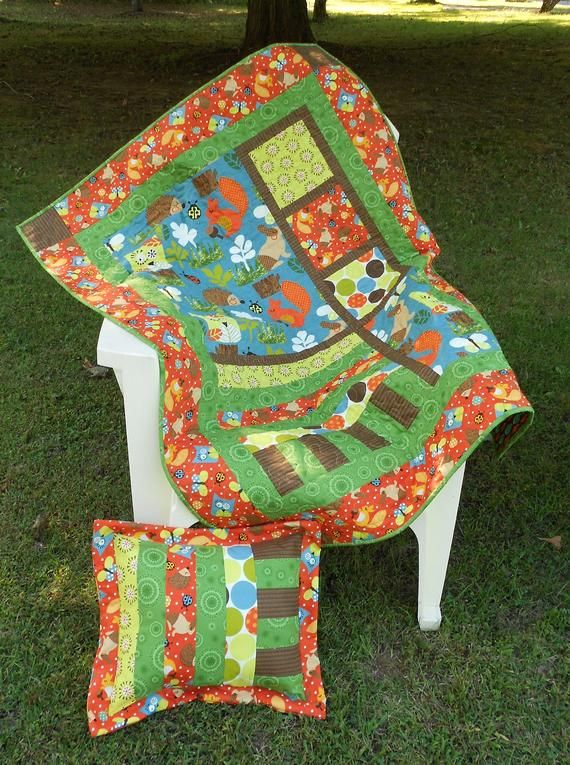 Baby Quilt Pattern Forest Frolic Crib Size Quilt With