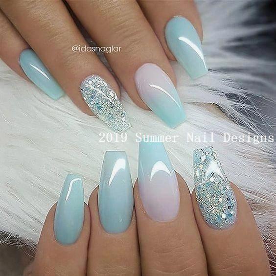 33 Cute Summer Nail Design Ideas 2019 Summernaildesigns Nail Nails Woman Summernail Nailideen In 2020 Short Coffin Nails Designs Ombre Nail Designs Nail Designs