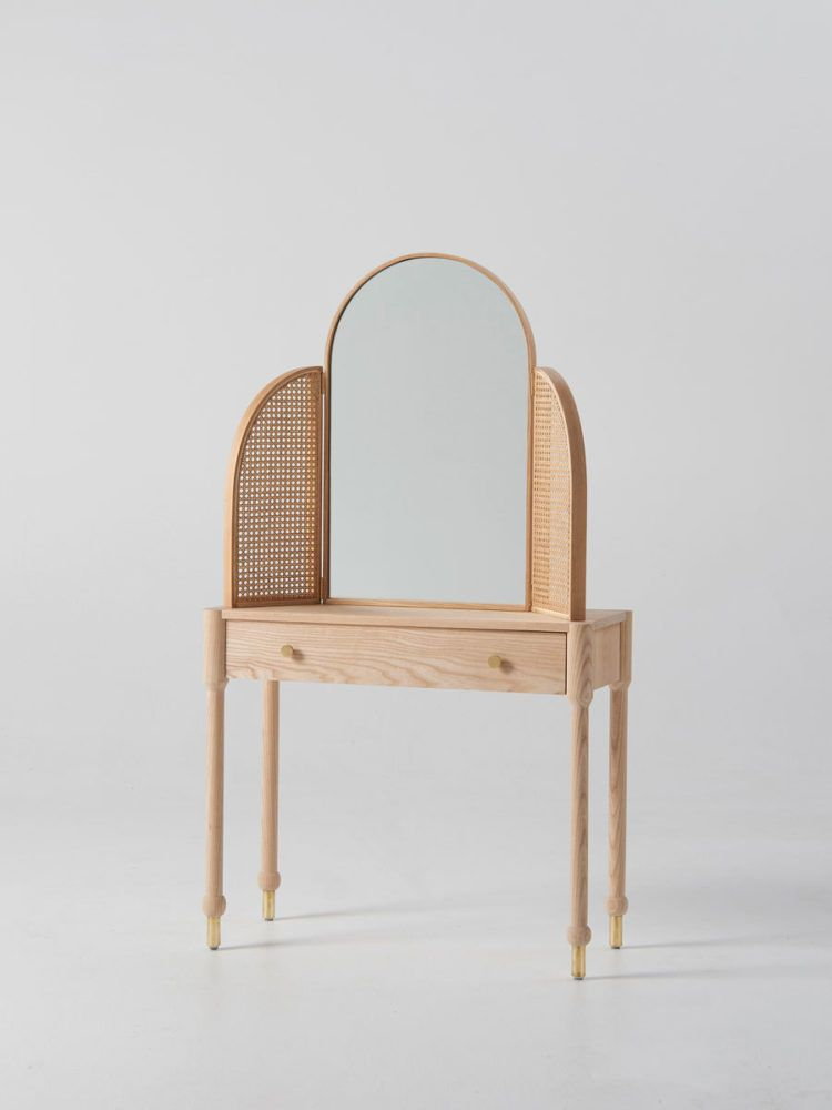 Wood And Cane Vanity With Mirror Sfgirlbybay Minimalist Dressing Tables Douglas And Bec Decor Interior Design