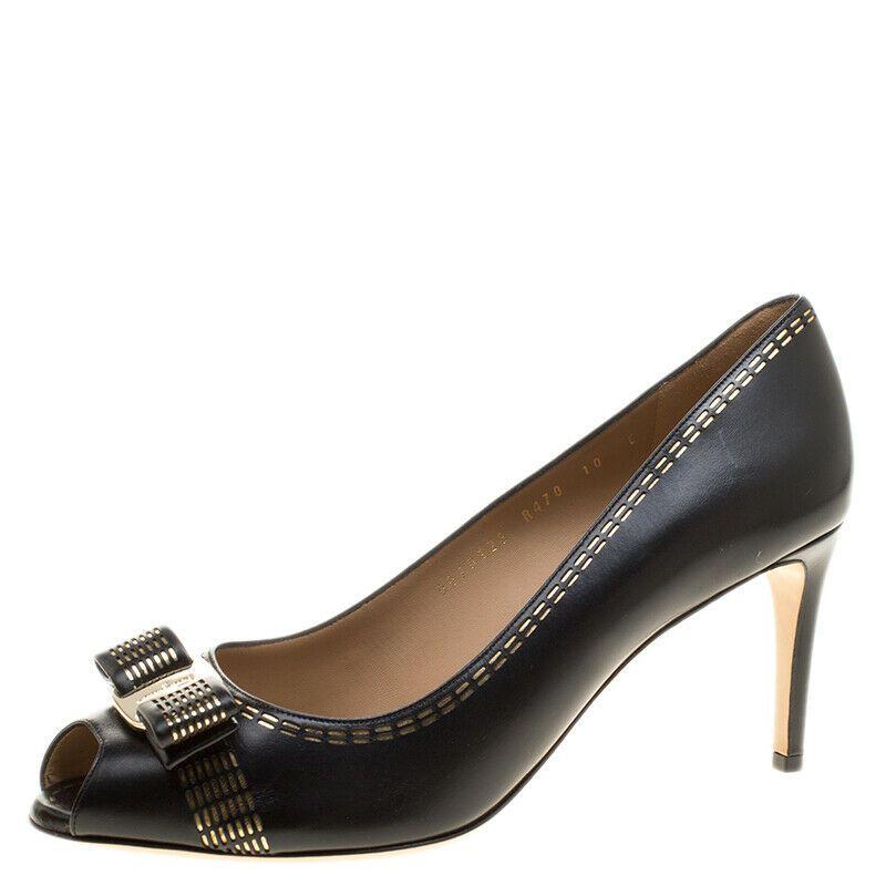 Ferragamo shoes Pola Stitc 7cm Nero Calf Sz 8 $695