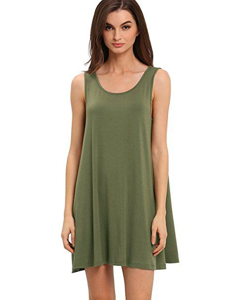 ROMWE Women s Casual T-Shirt Sleeveless Swing Dress Tunic Tank Top Dresses  Green XS f21689f4a