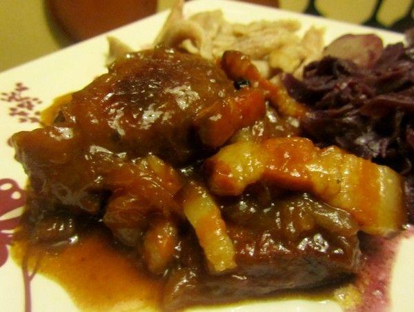 Joues de porc la bi re et au miel plats viande en - Cuisiner des cotes de porc ...