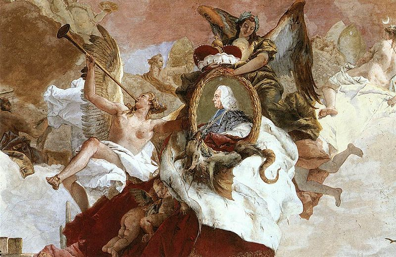 Giovanni Battista Tiepolo (1696-1770)Apollo and the Continents,detail portrait medallion of Carl Philipp von Greiffenclau, between 1752 and 1753,fresco, Würzburg Residence.