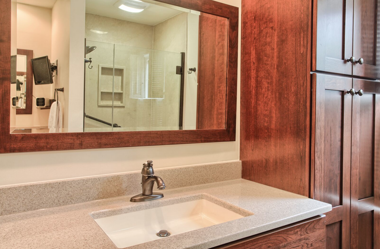 Bathroom Vanity With Wide Mirror And Granite Countertop  New Gorgeous Bathroom Remodeling Lancaster Pa Inspiration Design