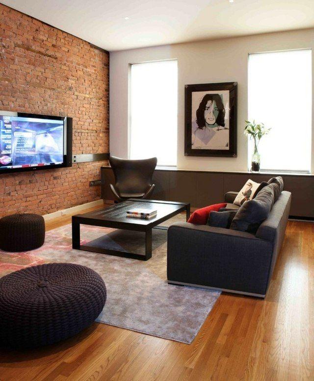 Ziegelwand unbehandelt Laminatboden graues Sofa Teppich Design - unbehandelte ziegelwand