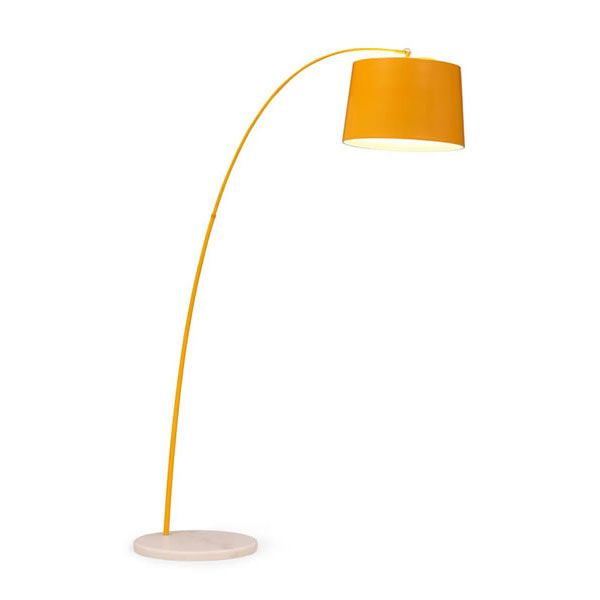 The marigold arc lamp accessorizes any space with a heady dose of color for a contemporary attractive look