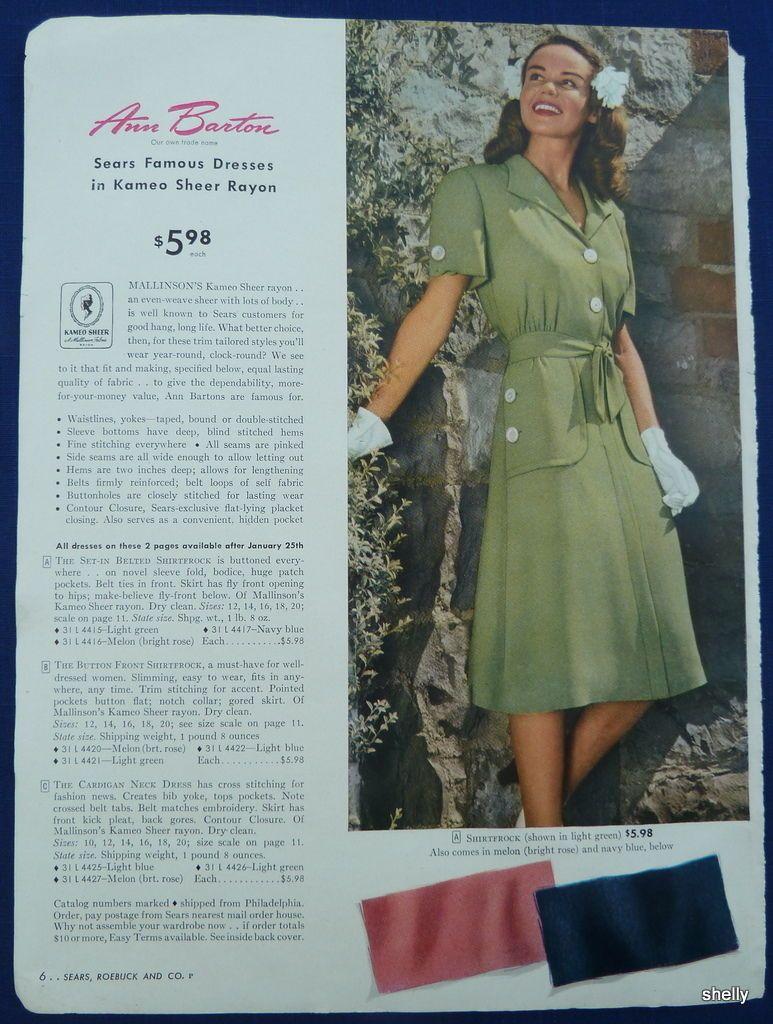 f5f2dcff3 Womens Spring Summer Dresses Easter Clothing Original Vintage 1940s ...