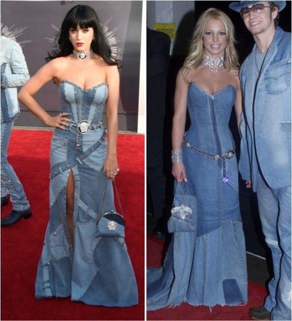 Esse VMA tá ficando bom! Katy Perry, que é da zueira, parece que entrou numa brincadeira com a Britney Spears e aceitou um desafio da imitação e o resultado? Katy reproduziu com muito MUITO louvor um dos looks mais clássicos da sociedade pop moderna, Britney Spears e seu namorado na época, Justin, no look jeans …