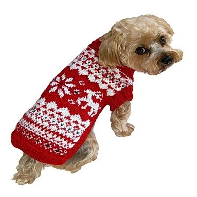 Red & White Fair Isle Dog Sweater, $26-30, from SimplyDogStuff.com ...