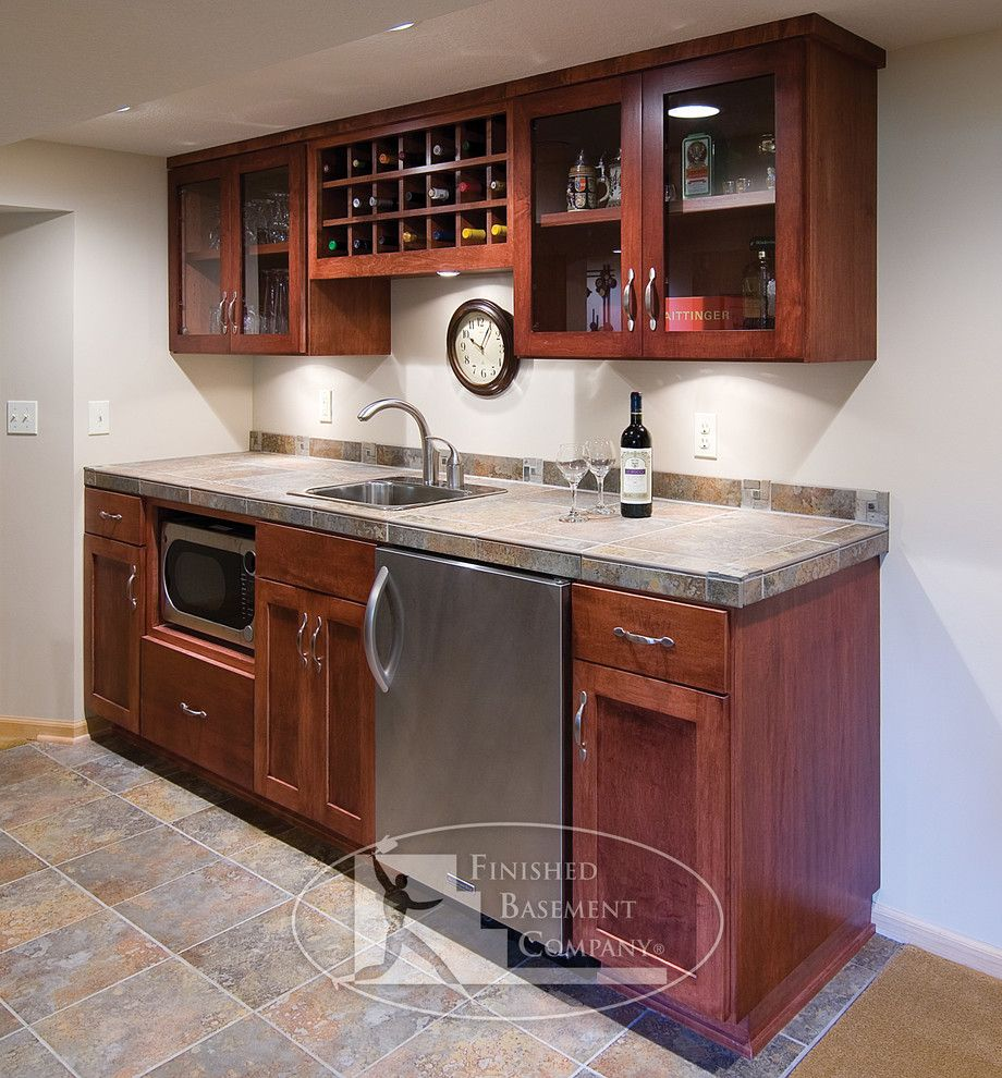 Basement Kitchen Small Small Finished Basement Basement Traditional With Wine Storage Wet