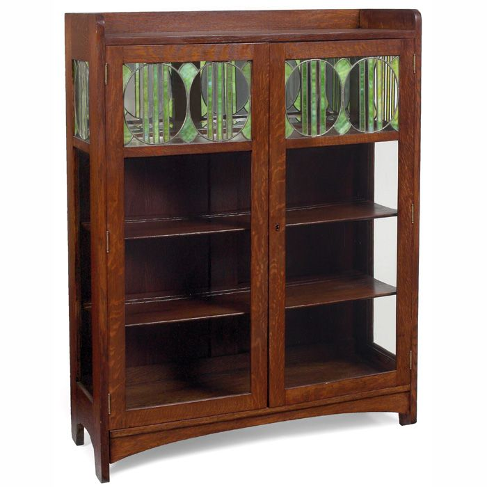Arts Crafts China Cabinet Two Door Form With Leaded Glass Panels At Top Refinished Rep Craftsman Furniture Arts And Crafts Furniture Art Nouveau Furniture