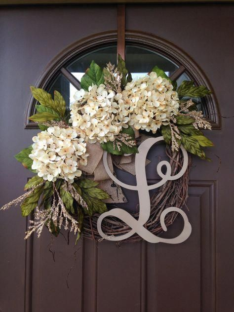 Photo of BEST SELLING Year Round Cream Hydrangea Wreath for Front Door – Grapevine Wreath with Burlap and Initial – Monogram Everyday Wreath