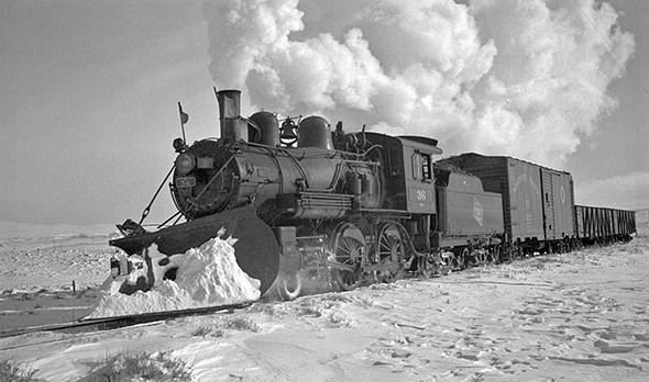 Milwaukee Railroad, Engine 26, moving snow, Ringling, MT, 1942