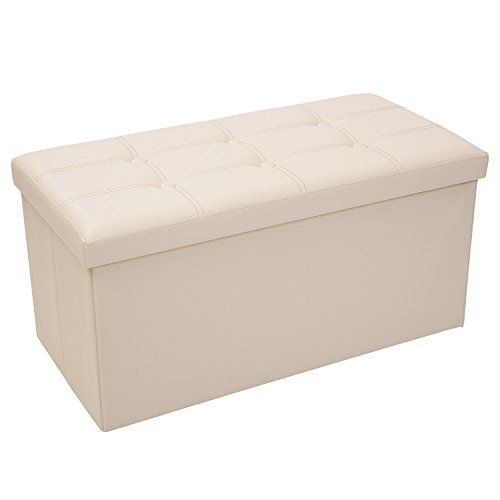 Toy Storage Ideas Merax Folding Storage Ottoman Faux Leather Storage Bench Beige 14 8 I Folding Storage Ottoman Leather Storage Bench Storage Ottoman Bench