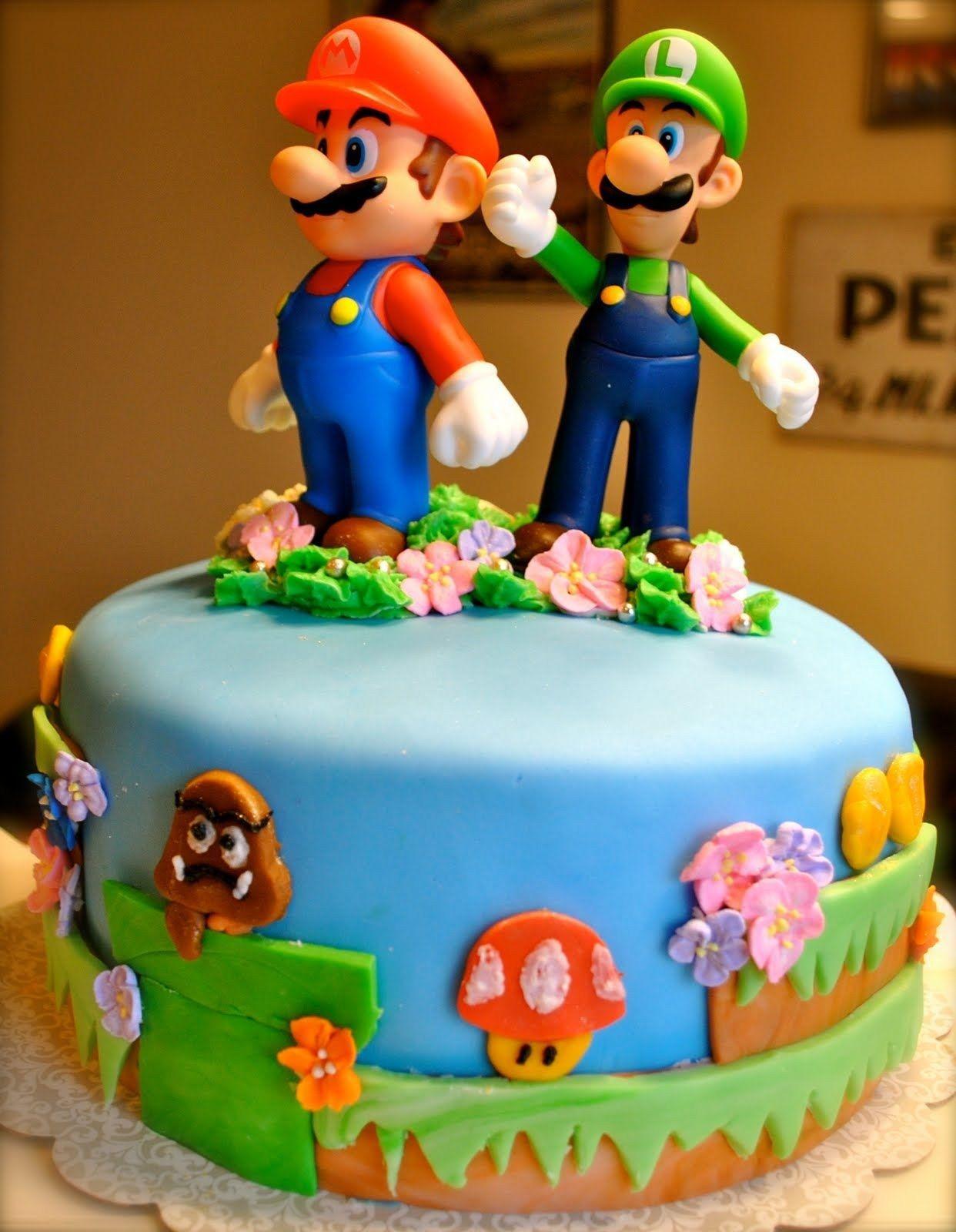 32 Brilliant Photo Of Mario Bros Birthday Cake With Images