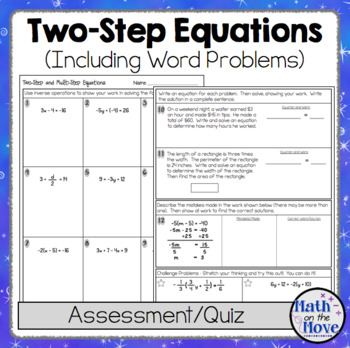 two step equations quiz or worksheet includes word problems math 8th grade two step. Black Bedroom Furniture Sets. Home Design Ideas