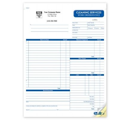 Cleaning Work Order Invoice Forms Rhs6527 At Print Ez Cleaning Service Cleaning Cleaning Contracts