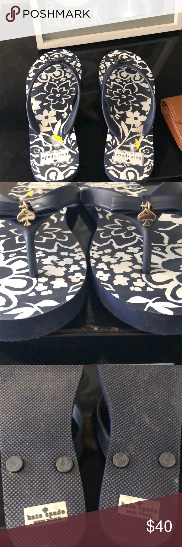 c90107b2022e Kate spade flip flops Literally wore them to 7 11 once for 10 minutes  they re super cute no signs of wear I ll take the rest of the sticker off I  just ...
