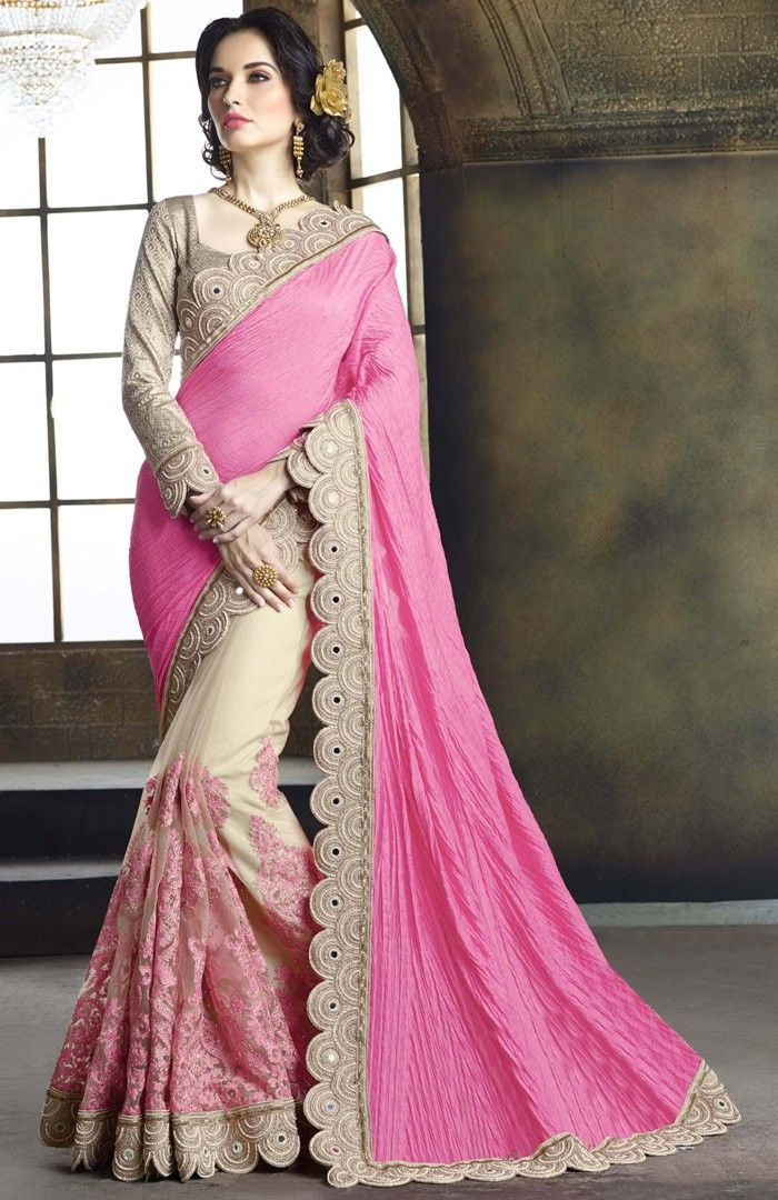 c96e3be2aa #Beige #TussarSilk #Party-Wear-Saree with #Pink #Pallu : A Perfect Saree  Design For Wedding Party Occasions