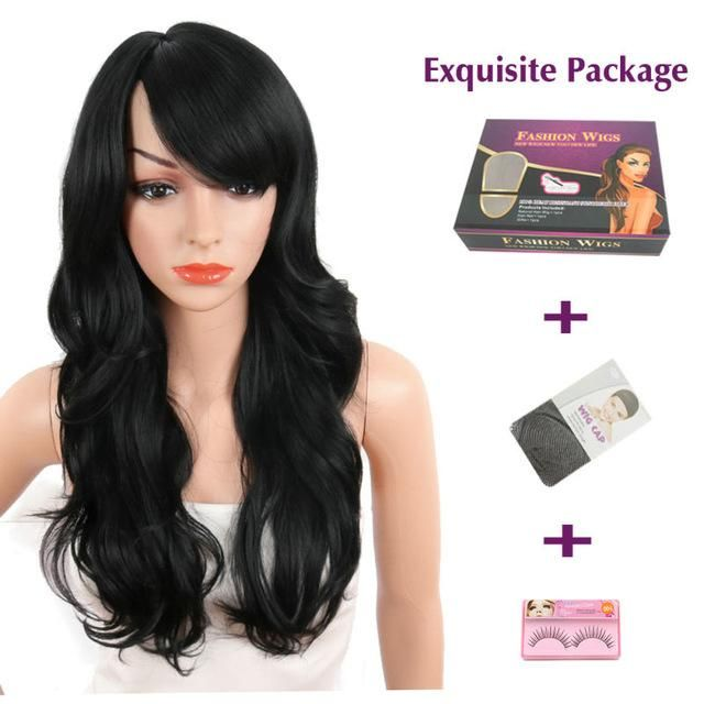 Deyngs Ombre Blonde Synthetic Wigs For Black Women Long Bouncy Curly Natural Hair Wig With Bangs Halloween Woman Party Hairpiece
