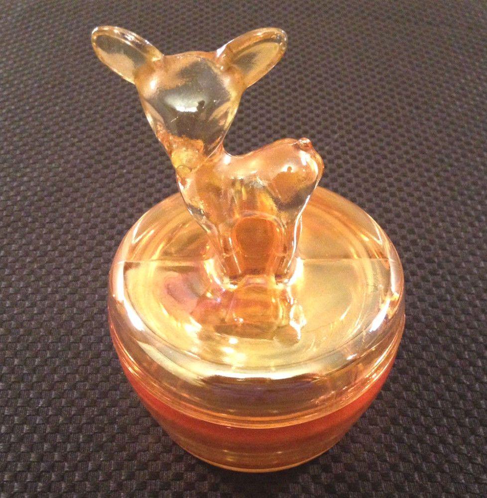 peach carnival glass. Vintage Deer Powder jar