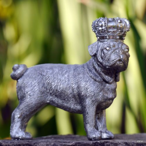 Mops Bulldoge Figur Hund Hunde Krone Antik Silber Statue Skulptur