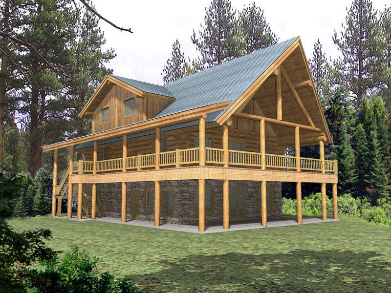 quiet meadows raised log home logs cabin decks and rustic house plans