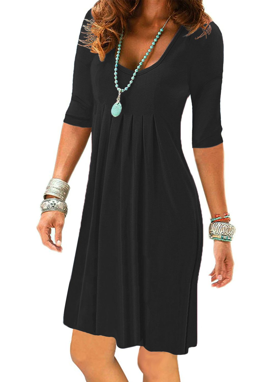 Womens Half Sleeve Plain Pleated T Shirt Dress Summer Casual 3 4 Sleeve Tunic Dresses Black Simple Elegant Casual Tunic Dress Casual Dresses Maxi Dress Party [ 1500 x 1100 Pixel ]