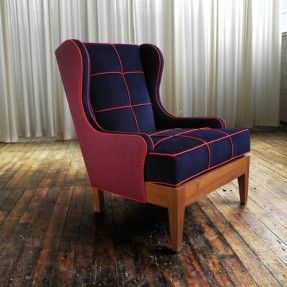 Our Chair No. One Eighty In Dark Navy Leather Club Chair / Modern Wingback  Chair