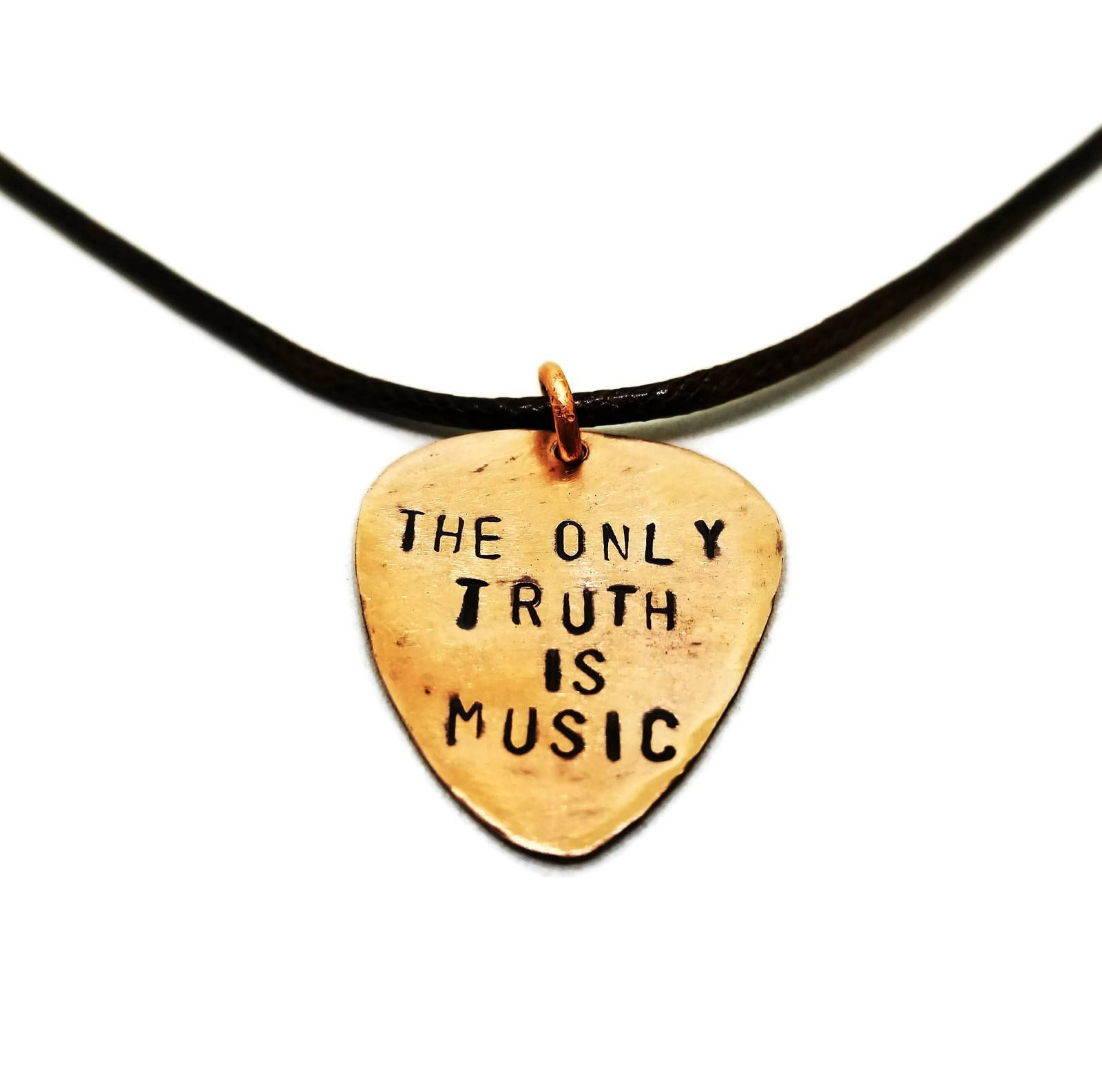 The only truth is music hand stamped copper guitar pick necklace the only truth is music hand stamped copper guitar pick necklace gift for musicians aloadofball Image collections