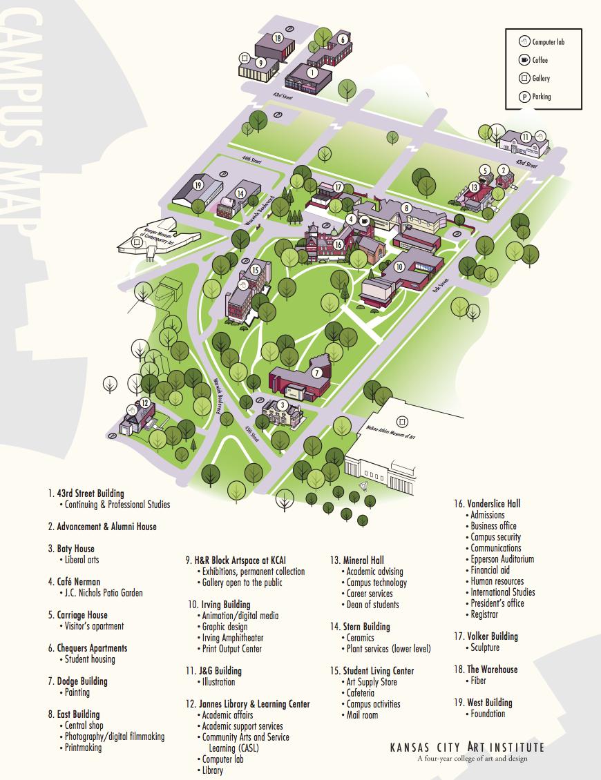 Visiting KCAI? Take a look at our campus map. | KCAI campus | Kansas on kansas wesleyan campus scenes, kansas state university map, wesleyan university campus map, kansas wesleyan university,