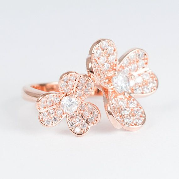 Flower Rose Gold Cocktail Ring via Etsy Jewelry Box Pinterest