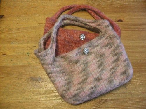 Felted bags, made one for myself and one for Helen. Gave another away to a long-ago friend.